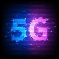 Tecnología binaria digital rosa y azul de 5 g