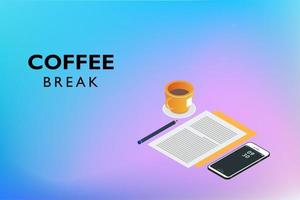 pausa café plano isométrico vector
