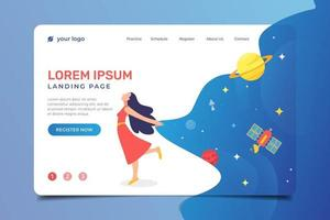 Landing Page with Happy Woman and Space Background