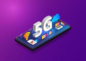 Isometric 5G Technology Smartphone