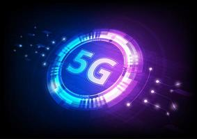 tecnología digital 5g azul y rosa en ángulo