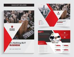 Business Corporate Bi-fold  Template Design Red Color