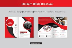 Red Business Corporate Bi-fold  Template Design vector