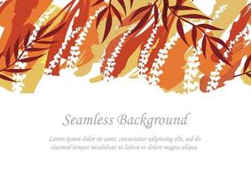 Seamless Red And Orange Botanical Background With Text Space