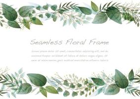 Watercolor Seamless Green Botanical Frame