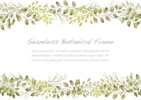 Watercolor Seamless Dry Green Flower Frame