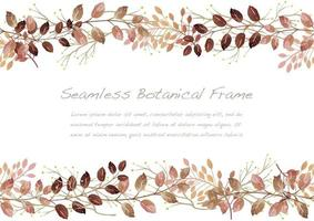 Watercolor Seamless Red Botanical Frame Isolated On A White Background. Vector Illustration.