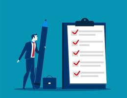 Businessman Holding Large Pencil with Checklist  vector