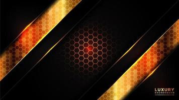 Glowing gold hexagonal pattern with dark overlapping layers vector
