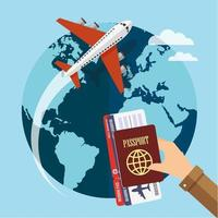 Airplane traveling around globe and hand with passport and ticket