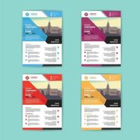 Business Flyer Template Set with Colorful Angled Shapes