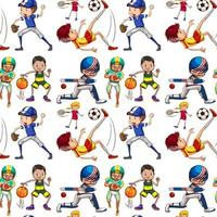 Seamless background with kids doing sports