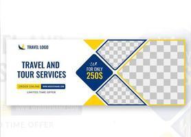 design de modelo de capa de mídia social de viagens