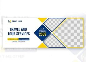 Travel Social Media Cover Template Design vector