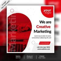 Business Social Media Red Square Post Template Design
