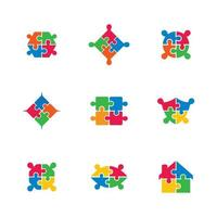 Puzzle icon set in bright colors vector