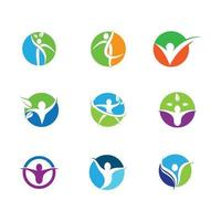 Wellness symbols in circles vector