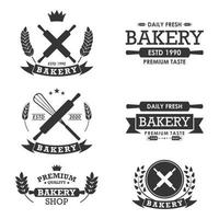 Bakery logos collection with whisks and rolling pins vector
