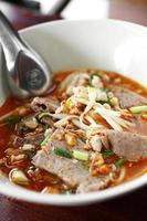 close up thai spicy soup noodle with pork