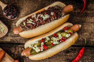 chile y hot dog vegetariano