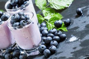 Lilac homemade yogurt with blueberries