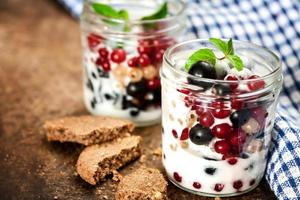 Breakfast granola with fruit and milk