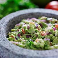 molcajete with guacamole close up