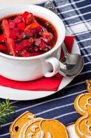 Ukrainian and russian national red borscht.