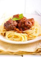 Spaghetti and meatballs in tomato sauce