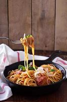 Spaghetti with turkey meatballs photo