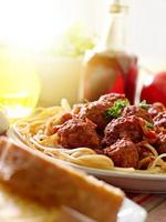 spaghetti and meatballs in vertical composition