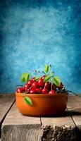 Cherries in brown plate photo