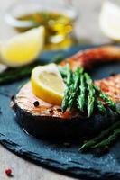 saumon cuit aux asperges et citron photo