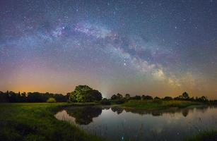 Starry night landscape photo