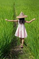 Walking in rice paddy