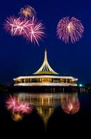 beautiful building with fireworks