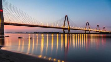 A beautiful bridge in Nhat Tan at sunset