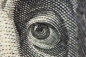 Eye on a banknote of dollar USA, Macro