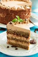 Coffee cake with chocolate.
