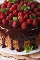 Chocolate raspberry cake with fresh berries close up vertical