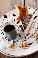 plated chocolate torte dessert