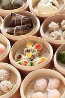 yumcha, dim sum in bamboo steamer