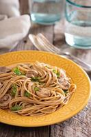 Mushroom whole wheat spaghetti photo