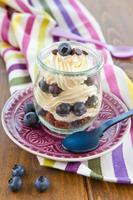 Layered dessert with fresh blueberries