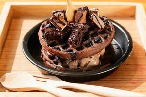 Chocolate waffle with ice cream