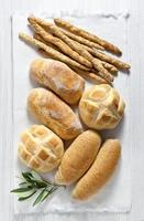 fresh homemade Italian bread: ciabatta, wholemeal, turtle, gress