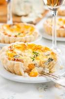 quiche with pumpkin and blue cheese.