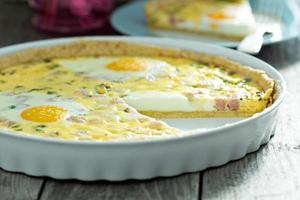 Quiche with ham and eggs photo