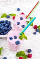 Milkshake with blueberries