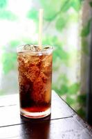 cola drink in glass.